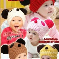 suits for 4 year old boys - Cute Baby Girl Boy Winter Warm Panda Shape Knitted Wool Crochet Cap Beanie Hat Suit for Months Years old baby