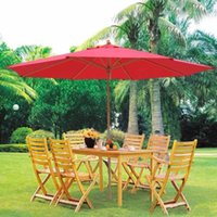 Wholesale 13ft German Beech Wood Wooden Outdoor Patio Umbrella Yard Cafe Store Pool Red US