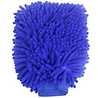 Wholesale Hippo Waterproof Microfiber Chenille Premium Scratch free Wash Scrub Dust Cleaning Mitt for Car House Cleaning Pack per Set Green Blue