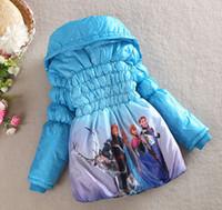 Wholesale Retails Frozen Cotton padded Winter Girls children Frozen Queen Elsa Anna Snowsuit Outwear Warm Kids Lined Coat Jacket BLUE RED PURPLE