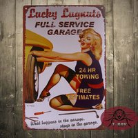antique advertising posters - Lucky Lugnut Full Service Garage Advertising Metal Tin Sign Poster Decor COOL