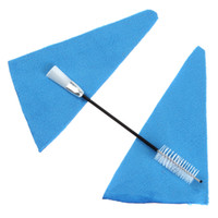 Wholesale 2 pairs Artificial Faux Suede Wind Instrument Sound Hole Cleaning Cloth Two Head Button Brush MIA_645
