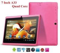 Wholesale 7 inch Allwinner A33 Tablet PC Quad Core GHz Android Tablet PC Q88 WIFI External G Dual Cameras RAM MB