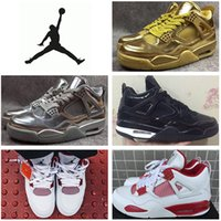 silver flats - Nike Air Jordan IV Retro Basketball Shoes Men High Quality Discount Trainers Jordan Boots Alternate Gold Silver Sports Shoes Size US