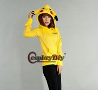 Promotion Pikachu Cosplay Hoodie Jacket Coat Anime cartoon Costumes Unisex Zipper-up Long Sleeve Hooded Sweater Sweatshirts