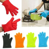 Wholesale Kitchen Heat Resistant Silicone Glove Oven Pot Holder Baking BBQ Cooking Mitts