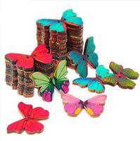 wood craft - 100pcs bag HOLES BUTTERFLY SHAPE WOOD SEWING SCRAPBOOKING CRAFT DIY BUTTONS