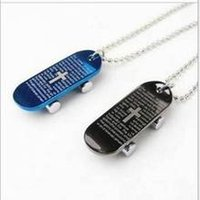 bible print - New Fashion Jewelry Black Blue Sliding Plate Skids Print Cross Bible Pendant Stainless Steel Necklaces Faith