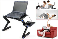 aluminum laptop table - 5 Degree Portable Folding Rose Black Metal Laptop Notebook Computer Stand Table Desk Bed Office Sofa Tray