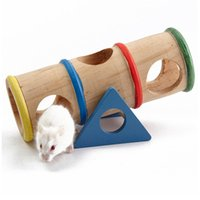 Wholesale Natural Wooden Rainbow Colorful Seesaw Cage House Hide Toys For Pet Rat Hamster