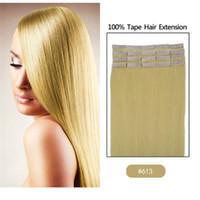 Wholesale 16 quot quot quot quot quot Tape Remy Human Hair Extension Light Bonde g g g Includes Per Pack For Fashion Women human hair