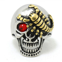 american scorpion - Price Newest Biker L Stainless Steel Mens Silver Gold Scorpion Skull Ring Band PartY Biker Ring