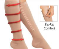 Wholesale Leg Shaper Beige Black Zip Sox Compression Socks Zipper Leg Support Knee Stockings Open Toe With Logo Packing