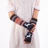 arm warmers wool - LJJG288 Pairs Unique Design Women Woolen Yarn Gauntlet Fashion Knitted Arm Fingerless Mitten Elk Deerlet Wrist Warm Winter Long Gloves