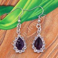 amethyst drop earrings - Charm Natural Amethyst Opal etc Water Drop Bead Drop Earrings Accessories Silver Plated Set Rhinestone European Fashion Jewelry Pairs