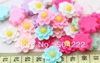 Wholesale Sun Flower Cabochons - 250pcs Resin kawaii Mixed sun Flower Deco cabochons Flatbacks 19mm for diy ring ,hair pin