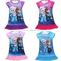 Wholesale In Stock summer girls dresses Frozen Princess Elsa Anna children nightdress Cartoon Clothing Cotton kids pajamas dress