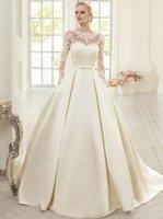 Precio de Novias musulmanes vestidos simples-Vestidos de boda atractivo romántico de época musulmana Sheer manga larga de encaje balón vestido de novia vestidos de novia vestidos de novia apliques de raso