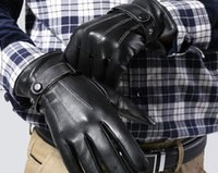 Wholesale Cheap Men Leather Screen Touch Driving Gloves Man Winter Warm Thick Leather Gloves Mittens M1699
