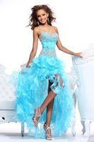 Cheap Prom Dress Heavily Beaded and Ruffles Organza Aqua High-low Dress Champagne Short Front Long Back Gown Party Dress XD-1411281123