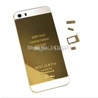backing plate door - 24K Gold Plating Back Housing Cover Skin Battery Door For iPhone S Mirror Luxury Limited Edition Kt Ct iphone5S Middle Frame
