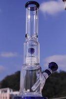Aparejo de jaula Baratos-Mayor bong de vidrio con jaula rectangular percolato tuberías hierbas agua de tubería tabaco de pipa de fumar pipa de vidrio bong plataforma petrolera