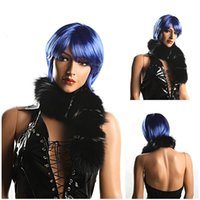 Cheap blue color fan wig party cosplay wig for women PP materials cheap 1pc Free Shipping 0729XC644-1