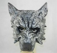 soft PU horror - On Sale Halloween Mask Grey Wolf Mask Masquerade Mask Animal Head Horror Mask carnival mardi gras costume