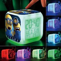 Wholesale 7 Color Changing LED Light Digital Alarm Clock Despicable Me Minions Kids gift