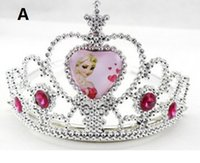 Wholesale Frozen Anna Elsa Tiara Crown Hair Band Sparking Crystal Cubic Zirconia Paved For Children Girl Mix Models