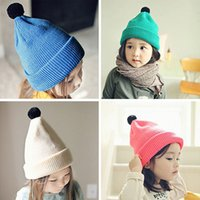 Wholesale Candy Ball Knitting Wool Kids Beanies Baby Infant Toddler Girl Cap For Boy Warm Hat Children Winter Hat Baby Thick Accessories