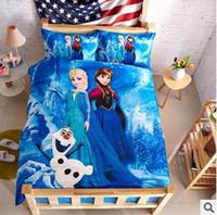 100% cotton bed sheet set - frozen princess children kids cartoon bedding set duvet quilt cover sheet sets Queen Full Twin Bedset