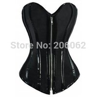 Cheap Wholesale-2015 new Steel Boned Corset Black PVC trimmed Taffeta Spiral Steel Bone Corset sexy corselet plus size 2XL 2GG 1 pc ok