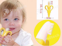 Wholesale Baby Teething Rings Baby Bananas Teethers Bite Silicone Oral Hygiene Dental Care Children Banana Toothbrush Without BPA Free DHL Factory
