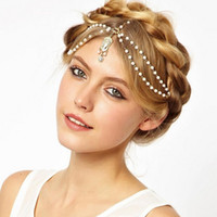 Wholesale 2016 Beautiful Wedding Bridal Hair Accessories Cheapest Metal Beaded Pearls Head Chain Indian Women Hair Jewelry CPA197