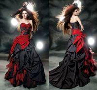 A-Line red and black wedding dresses - 2015 Custom Made Red and Black Gothic Wedding Dresses Taffeta Ruffled Wedding Gowns Beads Appliques Bow Sash Ruffles A line Wedding Dress