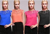 embroidered chiffon lace - 2015 new fashion women casual lace tops women plus size lace embroidered chiffon blouse stitching vest