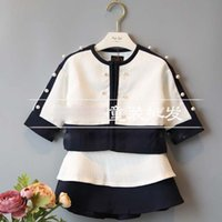 decorative buttons - 2015 Winter New Korean Children S Clothing Girls Shirt Skirt Black and White Pearl Decorative Stitching Princess Cotton Suit
