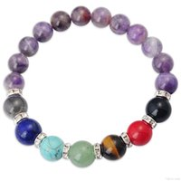 amethyst rondelles - Joya Gift Natural Amethyst MM Round Beads Chakra Gemstone Bracelet with crystal rondelles and Gemstone for women jewelry bangle