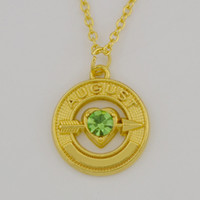 august birthstone necklace - New Trendy K Gold Plated Birthstone Crystal Peridot August Arrow To Heart Round Pendant Necklace