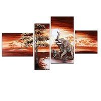 Wholesale US Stock Canvas Wall ArtElephants in SunsetAnimals Canvas Home DecorPure Handpaint Oil Painting