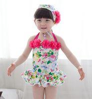 kids belts - 2015 Summer girls Swimwear sweet cute printing kids bathing suit with flowers Condole belt children one piece swimsuit ab602