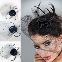 Wholesale Cheap In Stock Fashion Party Feather Hair Clip Mini Top Hat Fascinator Bridal Veil Hair Accessories