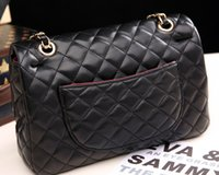 Wholesale CM Black Quilted Flap Bags Women s Jumbo PU Leather Lambskin Shoulder bag with Silver Chains Gold Hardware Chain Handbag