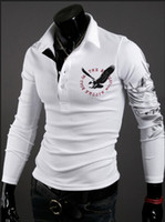 Cheap FG1509 Men eagle tattoo printing tops cultivating long-sleeved turn-down collar POLO shirt plus size M - XXL