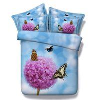al por mayor púrpura rey edredón azul-Ropa de cama y edredones conjunto de tamaño doble 3D Azul púrpura mariposa edredón floral edredón doña ropa de cama sábanas super king doble ropa de cama