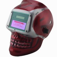 welding helmet - Red skull AAA battery Solar auto darkening TIG MIG MMA welding mask helmets face mask weld goggles eye protection mask cap machine
