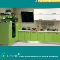 Wholesale Linkok Furniture modern green lacquer glass kitchen cabinets and cream lacquer kitchen cabinet and reproduction kitchen cabinet
