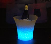 beverage cooler bucket - led illuminated ice bucket L custom plastic wine beverage bucket ice cooler for party KTV and bar