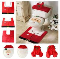Wholesale 2015 Christmas decoration Santa toilet Set seat cover rug tissue box cover set Gift